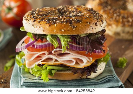 Healthy Turkey Sandwich On A Bagel