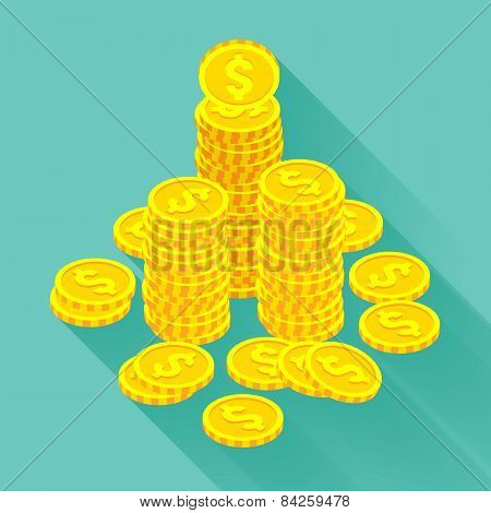 Isometric golden coins