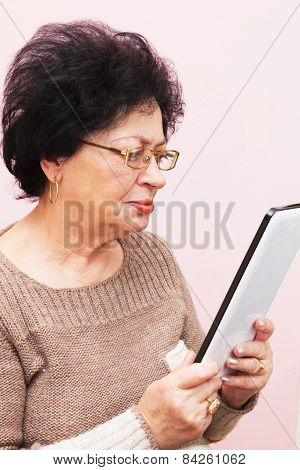 Old Woman And Pc Tablet