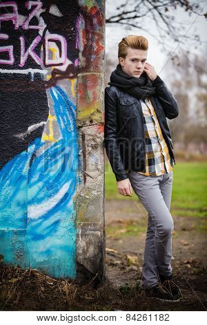 Fashion Male Portrait On Graffiti Wall