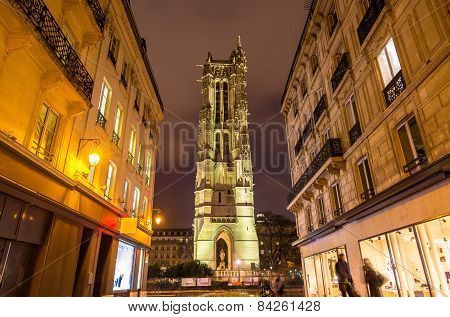 Saint Jacques Tower In Paris. Night View