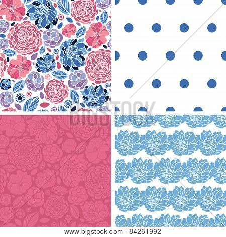 Vector Mosaic Flowers Set of Four Matching Repeat Patterns Backgrounds