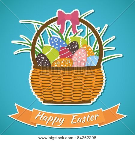 Happy Easter Card. Basket With Easter Eggs. Easter Elements