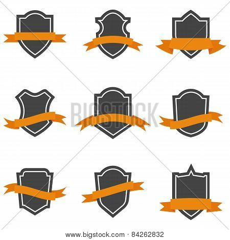 Set Of Shield Icons With Ribbons