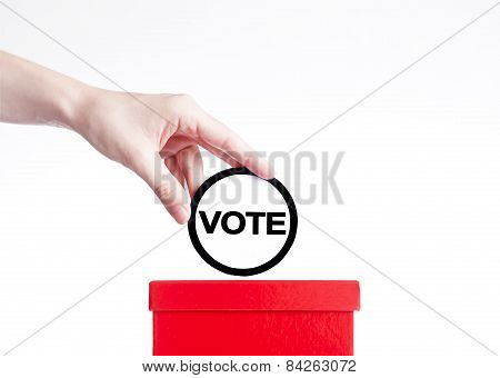 election concep,close up of a ballot box and casting vote
