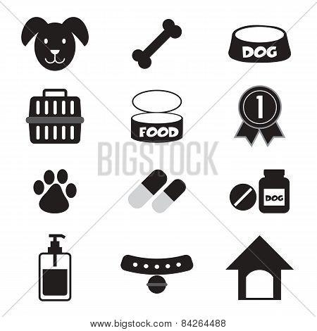 Dog Icons Set.