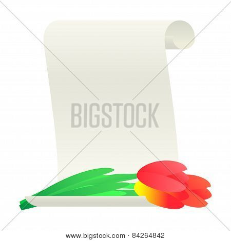 Bouquet of tulips and paper scroll.