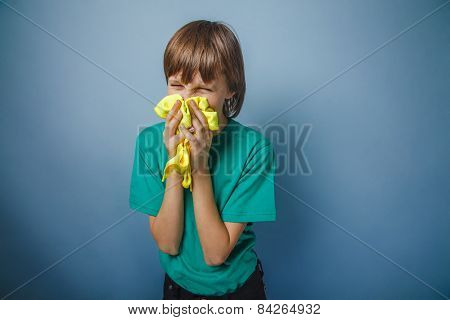 European-looking boy of ten years is ill, a handkerchief,