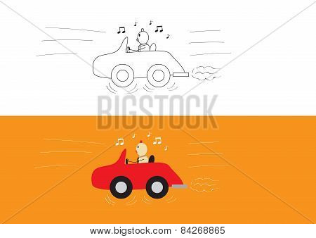 Chicken Businessman Driving