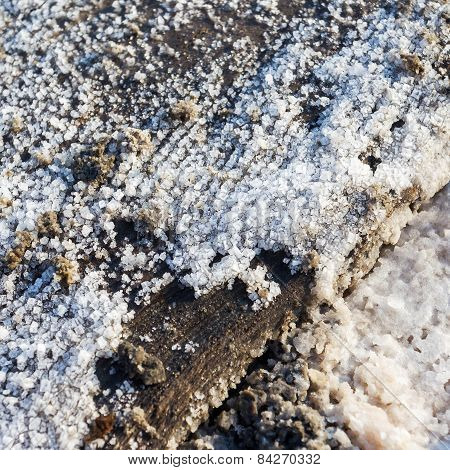 Background For Design White Sea Salt Crystals On The Banks Of The Dried Bay. Selective Focus