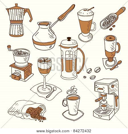 Hand drawn sketch doodle vintage simple coffee theme devices coffeemaking Menu design for cafe and r