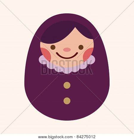 Matryoshka , Russian Traditional Wooden Doll, Vector Pattern, Flat Icon Elements Background,eps10