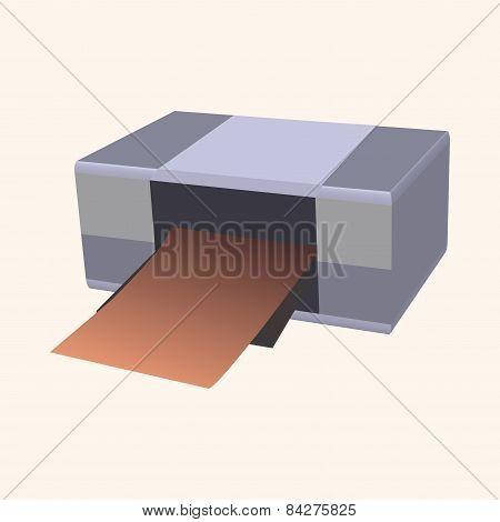 Computer Theme Printer Elements Vector