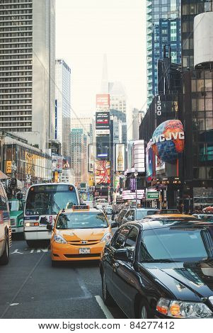 Traffic In Times Square In New York City