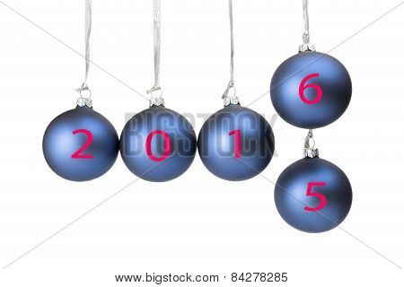 Five blue christmas balls with new year 2016