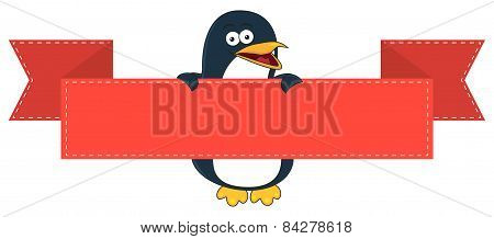 Smiling Penguin Cartoon With Blank Banner For Text.