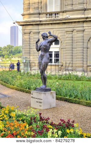 Sculptures Are In The Park Of The Luxemburg Palace