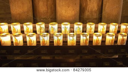 Modern Candles In Notre Dame