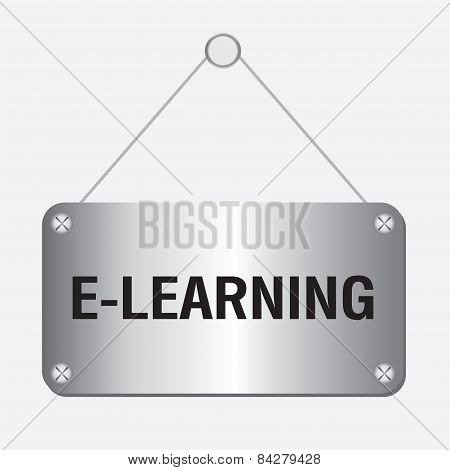 silver metallic e-learning sign