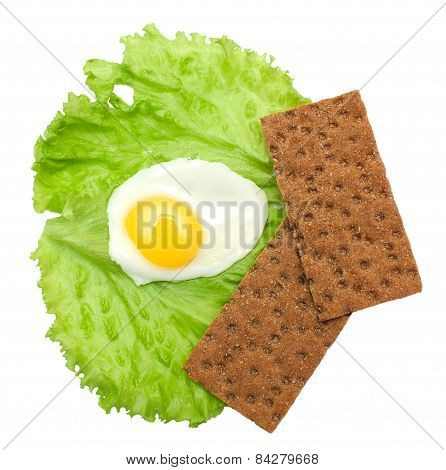 Healthy Food: Fried Eggs, Lettuce, Crisp Bread