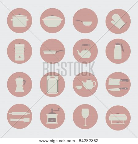 Kitchen Tools And Utencils Icons.