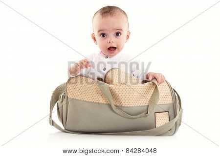 Bright Portrait Of Adorable Baby On White