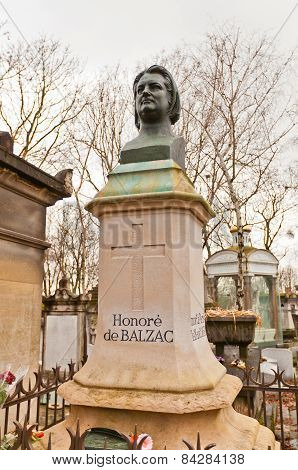Grave Of Honore De Balzac In Paris