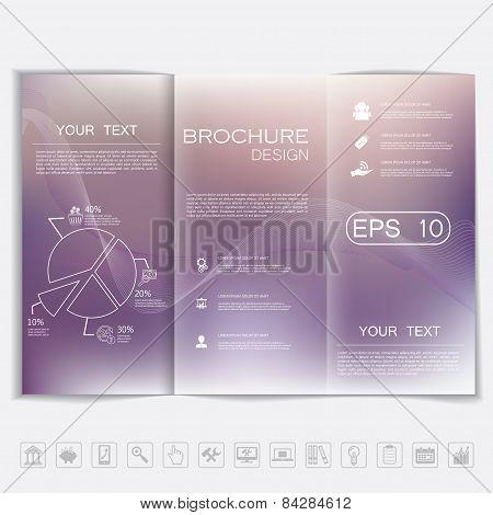 Tri-fold Brochure Mock Up Vector Design. Smooth Unfocused Bokeh Background With Waves.