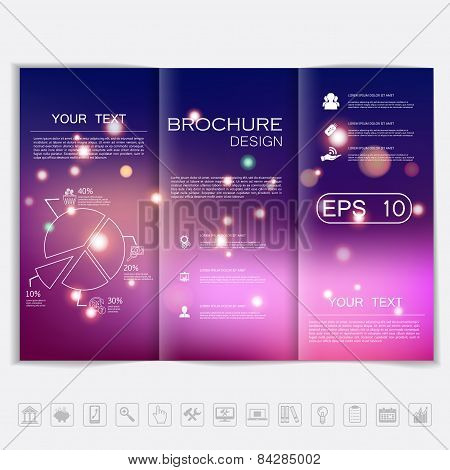 Tri-fold Brochure Mock Up Vector Design. Smooth Unfocused Bokeh Background With Shiny Elements. Corp