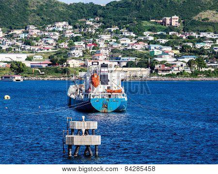 Blue Tanker In Blue Harbor