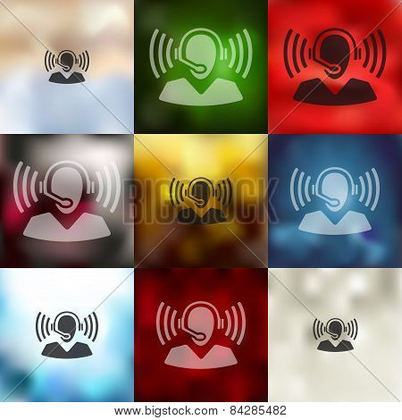 call center icon on blurred background