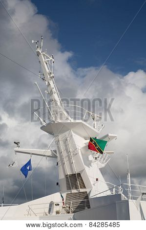 Ships Tower With Flag Of St Kitts