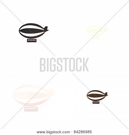 airship icon on blurred background