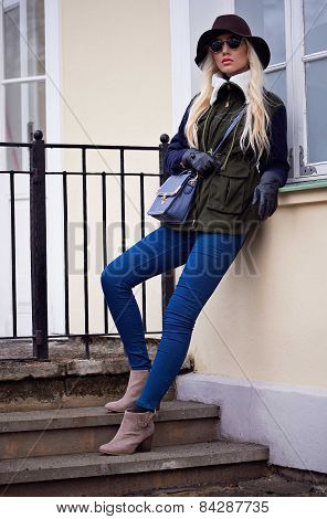 Pretty Blonde Girl In Posing