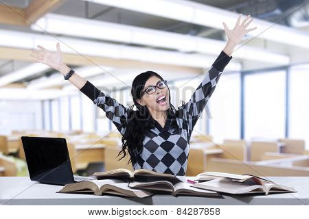 Excited Student Studying In Class 1