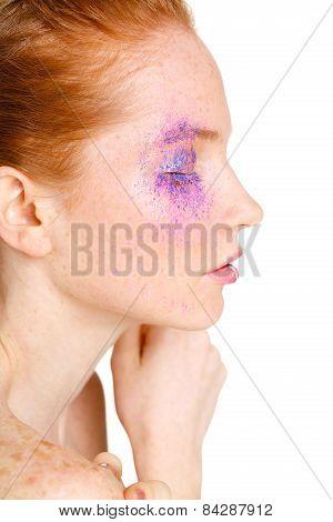 Beauty Face closeup.Makeup