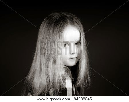 Attractive Little Girl Close-up Portrait