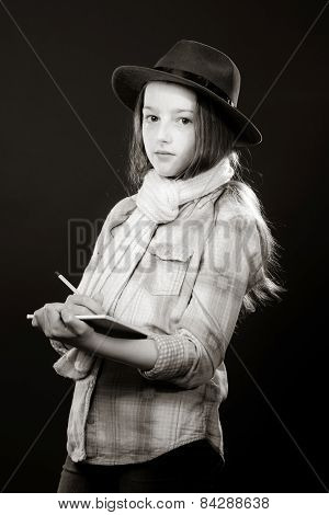 Cute Teenage Girl With Father's Hat  Close-up Portrait