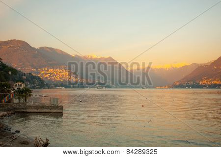 Sunset In Lake Como