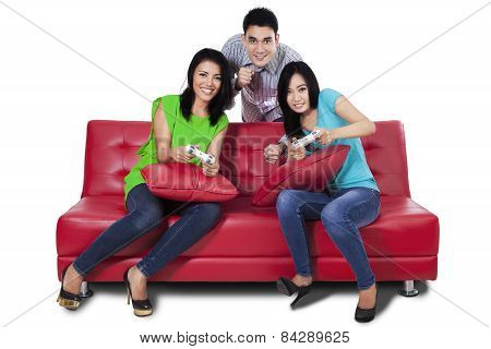 Group Of Teenager Playing Games Isolated