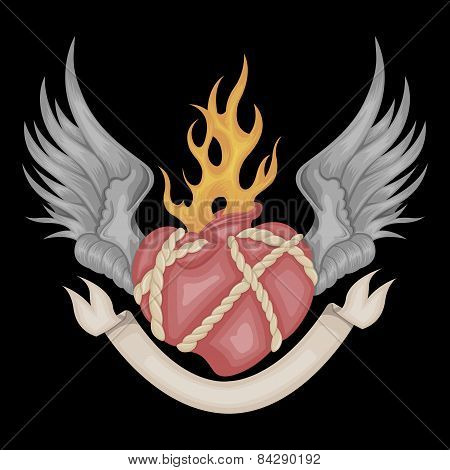 Illustration of heart with wings.