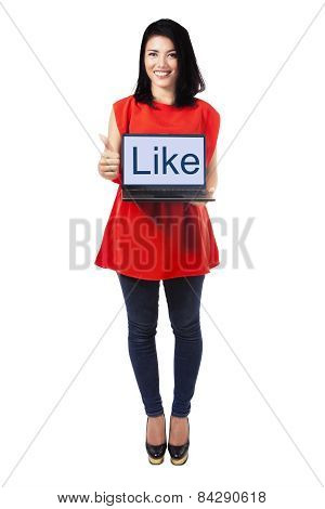 Lady With Laptop Showing Thumb Up