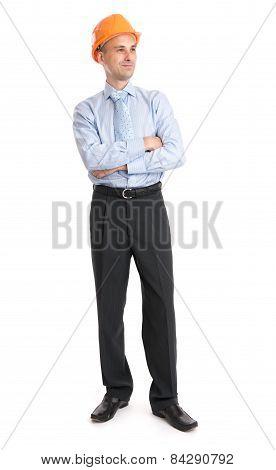 Full Length Portrait Of A Happy Businessman In Helmet