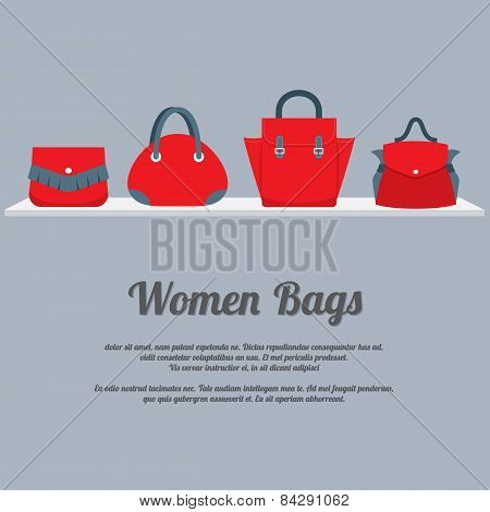 Women Handbags Display On Shelf.