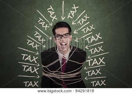 Man With Tax Problems Bound By Rope