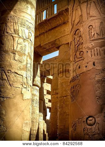 Columns In The Hypostyle Hall At The Temple Of Karnak (luxor, Eg