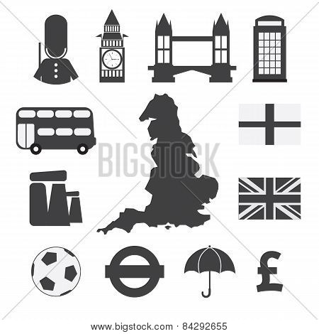 Set Of England Symbol Icons.