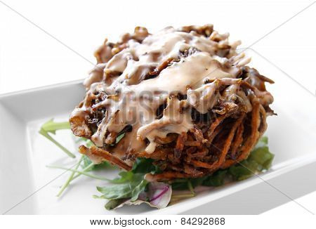 Ball Of Fried Onions With Sauce
