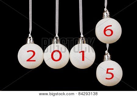 White christmas balls with dates 2015 and new year 2016