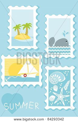 summer postage stamps collection